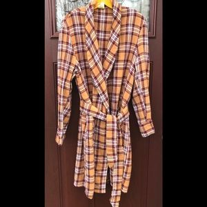 Vintage 1960's 1970's Plaid Mens Robe Bathrobe M